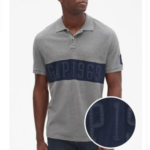 Men's Large XL Gray Stripe GAP Logo Pique Polo NWT